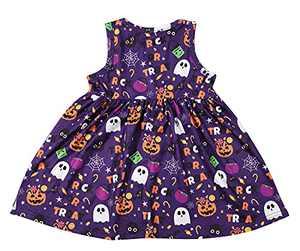 KIDDAD Toddler Baby Girls Halloween Ghost Skull Zombie Print Party Dress Sundress All Saints Day Sundress Violet