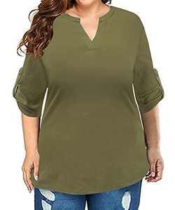 RITERA Plus Size Women's 3/4 Sleeve Shirts V Neck Blouses Henley Shirt Flowy Tops Army Green 3XL