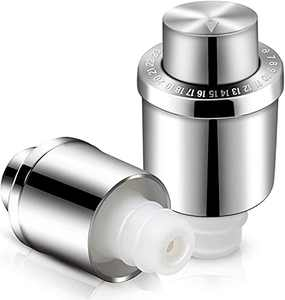 2 Pcs GiniHomer Wine Stoppers, Wine Bottle Stoppers, Stainless Steel Vacuum Wine Stoppers