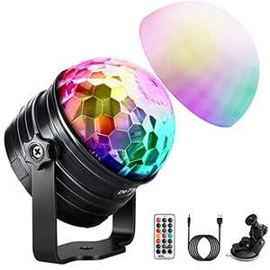 Disco Light, 2 in 1 Sound Activated Disco Ball Light with Timer, 7 RGB Colour, USB Dimmable Party Lights for Kids' Birthday, Christmas, Home Bedroom
