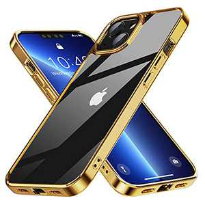 FLOVEME Designed for iPhone 13 Case for Women, Non-Yellowing TPU Shockproof Scratch Resistant Slim Thin Protective Case for iPhone 13 6.1 inch (Clear) -Gold