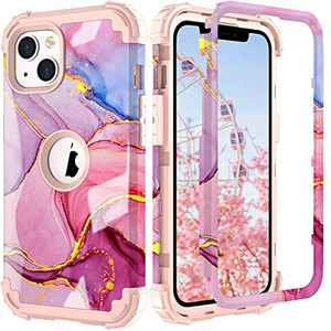 PIXIU Compatible with iPhone 6.1 inch Marble case, Heavy Duty 3 Layer (Silicone+Plastic) Shockproof Full-Body Protective Sturdy Hybrid Case for Apple iPhone 2021 Release