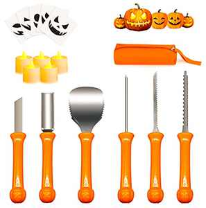 Pumpkin Carving Kit, Carve Halloween Lantern Set 16 PCS Professional Duty Stainless Steel Lanterns Pumpkin Carving Tools Set for Party Decorations with Storage Bag Included Pumpkin Patterns and Lamps
