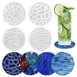 Cadelon Resin Coaster Molds, 4 PCS Round Epoxy Resin Molds, Silicone Molds for DIY Coaster Artwork, Cups Mat Crafts Casting, Home Table Decor