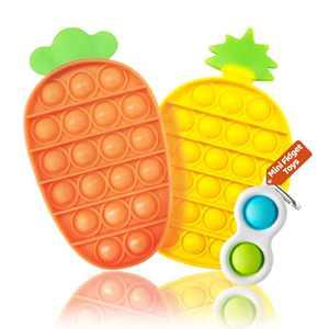 Halafs Pop Fidget Sensory Toys Cheap,Autism Special Needs Stress Relief Silicone Pressure Relieving Toys, pop pop Bubble for Adults Children (3 Pack-Pineapple + Radish + Mini Fidget Toys)