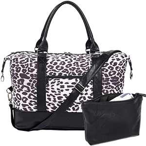 Women Travel Duffle Bag Large Carry On Tote Weekender Overnight Bag with PU Leather Shoulder Black Leopard 17.7 Inch