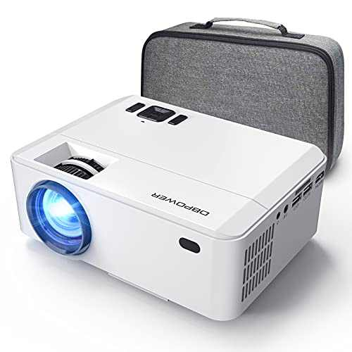 DBPOWER Mini Projector Portable Video Projector with Carrying Case, 5500L 1080P and 200'' Display Supported, Projector Compatible with TV Stick, PS4, HDMI, VGA, TF, AV and USB