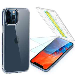 Foval for iPhone 13 Pro Max Screen Protector (2Pack) and Clear Case (1Pack), [Eye-closed Installation][Bubble Free] Tempered Glass with Shockproof Phone Cover Compatible with Magsafe Charging