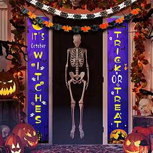 HomieGym Halloween Decoration Banner Porch Sign, Extra with Bat & Skull Full of Halloween Festival Feeling for Halloween Party Decorations Outdoor/Indoor Yard Garland