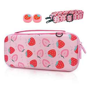 TIKOdirect Carrying Case for Nintendo Switch, Cute Portable Travel Bag in Newest Updated Design of Pink interior with an Adjustable Shoulder Strap, 2 Thumb Grip Caps and 10 Game Card Slots, Strawberry