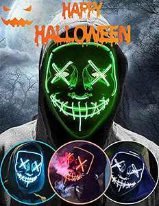 Halloween Led Light Up Mask, Purge Mask, Scary Mask Cosplay Led Costume Mask for Kids, Men & Women with EL Wire Light up for Halloween, Festival Party, Masquerade, Carnival Green
