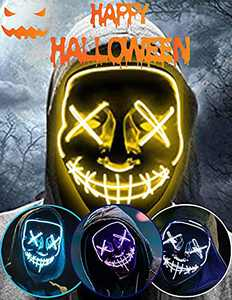 Halloween Led Light Up Mask, Purge Mask, Scary Mask Cosplay Led Costume Mask for Kids, Men & Women with EL Wire Light up for Halloween, Festival Party, Masquerade, Carnival Yellow