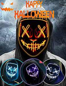 Halloween Led Light Up Mask, Purge Mask, Scary Mask Cosplay Led Costume Mask for Kids, Men & Women with EL Wire Light up for Halloween, Festival Party, Masquerade, Carnival Orange
