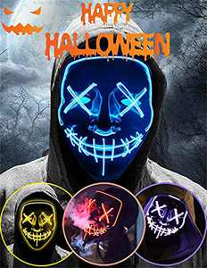 Halloween Led Light Up Mask, Purge Mask, Scary Mask Cosplay Led Costume Mask for Kids, Men & Women with EL Wire Light up for Halloween, Festival Party, Masquerade, Carnival Blue