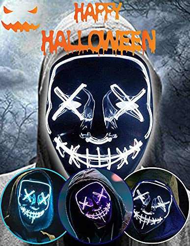 Halloween Led Light Up Mask, Purge Mask, Scary Mask Cosplay Led Costume Mask for Kids, Men & Women with EL Wire Light up for Halloween, Festival Party, Masquerade, Carnival White