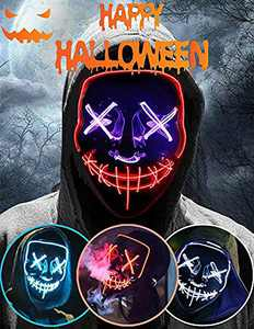 Halloween Led Light Up Mask, Purge Mask, Scary Mask Cosplay Led Costume Mask for Kids, Men & Women with EL Wire Light up for Halloween, Festival Party, Masquerade, Carnival