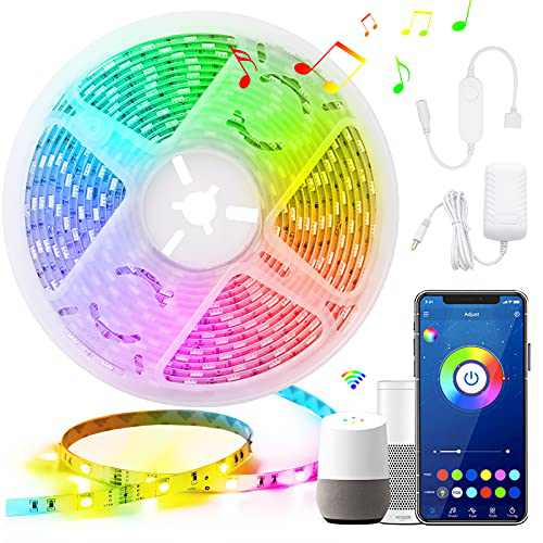 Led Strip Lights Apple Homekit, Smart WiFi Strip Lights for Bedroom, Waterproof Color Changing Lights Work with Siri, Alexa, Smartthings and Google Home, 16 Million Colors&Music Sync