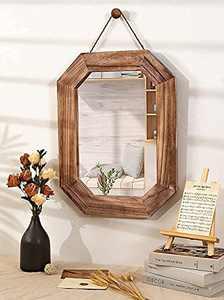 Wall Mirror for Bathroom, 24'' x 18'' Rustic Wood Hanging Wall Mounted Mirror for Vanity Bedroom Entryway (Pinzoveco - Farmhouse Decor Wall Mirror)