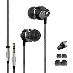 In Ear Headphones Earphones Wired Ear Phones, Noise Isolating Earbuds with 3.5mm Tangle-Free Wire, Headphones for Samsung, iPhone, iPod, iPad, Silver&Black (Without Mic)