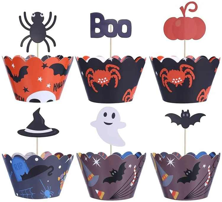 48pcs Halloween Cupcake Decorations Set, Spider Pumpkin Ghost Hand Cupcake Decorations Supplies, Widely Used to Place Cupcakes, Cakes, Biscuits, Muffins, Etc