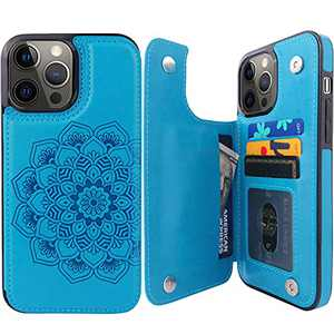 """Compernee for iPhone 13 Pro Max Wallet Case with Card Holder, Mandala Embossed Faux Leather Kickstand Card Slots Case, Handmade Shockproof Protective Slim Soft Flip Phone Case 2021 6.7"""" Blue"""