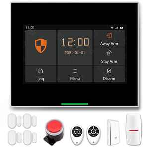 """Staniot 10 Pcs Smart Home Security System, WiFi Wireless Professional Tuya Home Alarm System, 4.3"""" IPS Full Touch Screen Alarm Panel, APP Remote Control, Compatible with Alexa and Google Assistant"""