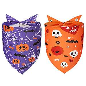 Yespet 2 Pack Dog Halloween Bandana, Triangle Bibs Pure Cotton Pet Scarfs Pumpkin Ghost Accessories for Medium Dogs Custom Scarf