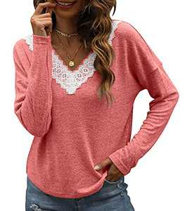 Womens Tops V Neck Blouse for Women Fashion Loose Long Sleeve T-shirt Lace Tunic Pink
