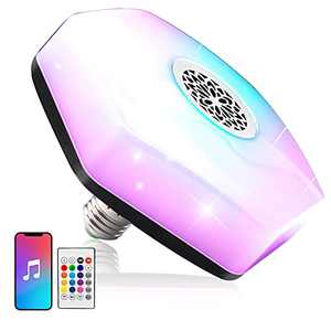 LED Light Bulb Bluetooth Speaker,Smart RGB Wireless Stereo Bulb Light with Remote Control,18W E26 Base Color Changing Light,Used for bar Decoration,Family,Restaurant,Halloween and Christmas Party