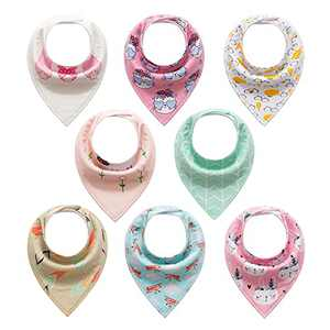 Baby Bibs for Boys Girls, Baby Drooling Bandana Bibs for Infant, Toddler 8 Pack bibs Unisex 100% Cotton (Pink bunny)