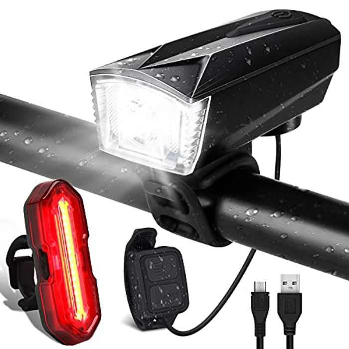 Super Bright Bike Light Set, USB Rechargeable LED Bicycle Lights with 300LM Waterproof Front Headlight and 100LM Tail Light, Adjustable 5+6 Lighting Modes, Cycling Lights for Road & Mountain