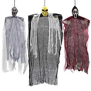 """HOLYFUN 3 Pack Halloween Hanging Decorations, One 35"""" and Two 25"""" Skeleton Ghosts, Halloween Indoor and Outdoor Party Decor for Yard Patio Lawn Garden"""