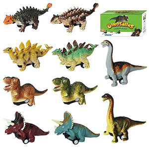 AZSEUOR 10 Pack Dinosaur Toys for Toddlers 1-5 Years Old Boys & Girls Kids, 2 in 1 Pull Back Cars 4 inch Dinosaurs Toys Educational Realistic Dinosaur Playset to Create a Dino World