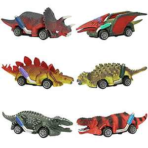 AZSEUOR 6 Pack Dinosaur Toys Cars for Kids Toddlers Boys Girls 1 to 5 Years Olds, 2 in 1 Pull Back Cars 5 inch Dinosaurs Toys Educational Dinosaur Playset with T-Rex
