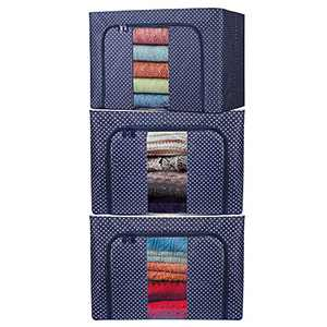 BYG 72L Steel Frame Storage Box Clothes Storage Bag, Foldable Stackable Container Organizer Set with Large Window & Non-woven Fabric for Comforters, Bedding(Navy-72L)