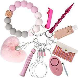 ASOONYUM Safety Keychain for Women Self Defense Set with Silicone Bracelet, Window Breaker, Acrylic Blanks, Personal Alarm, Bottle Opener, Heart Pom Pom, Hand Sanitizer Bottle, Card Holder Wallet Pink
