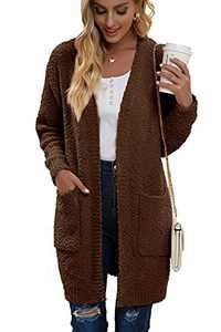 Juregece Women's Long Sleeve Chunky Sweaters Open Front Popcorn Knit Cardigan Jacket Coat Outwear Tops with Pockets Brown L