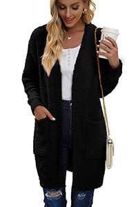 Juregece Women's Long Sleeve Chunky Sweaters Open Front Popcorn Knit Cardigan Jacket Coat Outwear Tops with Pockets Black L