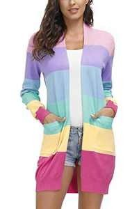 Juregece Women's Long Sleeves Open Front Casual Lightweight Cardigan Knitted Sweater Cardigan Coat Outwear Color Block Tops with Pockets Colorful M