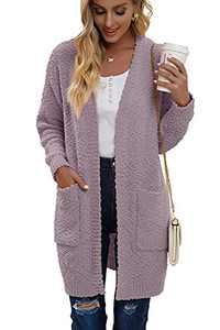 Juregece Women's Long Sleeve Chunky Sweaters Open Front Popcorn Knit Cardigan Jacket Coat Outwear Tops with Pockets Purple L