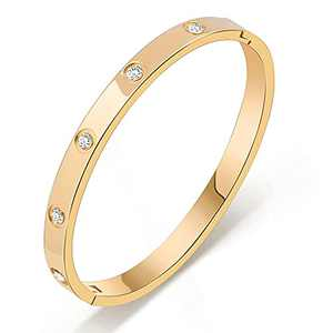 Love Friendship Oval Bangle Bracelet, Gold Plated, Gold/Rose Gold/Silver Available, Inlaided Sparkle AAAA+ Cubic Zirconia, 316L Stainless Steel, Hinged Bracelets for Women/Girl/Men/Boy, Perfect Gifts for Her