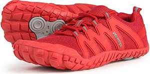 Barefoot Zero Drop Shoes for Women Minimalist Barefoot Trail Running Camping Wide Toe Box Fitness Gym Exercise Workout Sneaker Tennis Red US Size 5