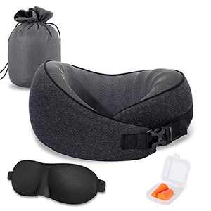 Travel Neck Pillow, CSJT 100% Pure Memory Foam Travel Pillow, 360-Degree Adjustable, Comfortable ,Breathable and Supportive, Suitable for Sleep Rest, Airplane-Car-Office & Home Use (Black)