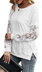 Women Casual Crewneck Tops Lace Sleeve Long Tunic Shirts Loose Sweatshirt Side Slit Pullover White S