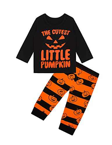 Toddle Boy Girl The Cutest Little Pumpkin Outfit Long Sleeve Pants Set (Orange Long Sleeve, 6-12 Months)