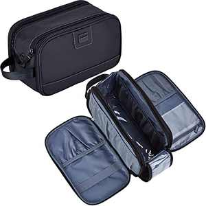 ZEEMO Toiletry Bag for Men, Water-resistant Dopp Kit with Double Side Full Open Design, Large Capacity for Toiletries and Shaving Accessories, Travel Toiletry Organizer Case, Black