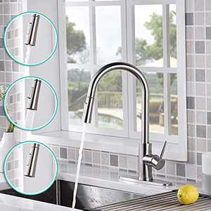AMAZING FORCE Touchless Kitchen Faucet with 2 Modes Pull Down Sprayer, Single Handle Automatic Motion Sensor Kitchen Sink Faucet with Fingerprints Resistant, Brushed Nickel