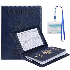 LUKETURE Passport and Vaccine Card Holder Combo, PU Leather Passport Holder with Card Window for Travel, Passport Holder & Card Protector