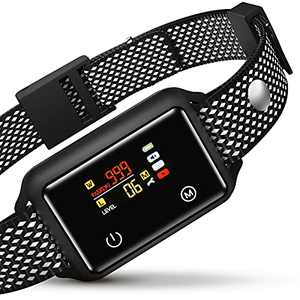 Nzonpet Dog Bark Collar Rechargeable, IP68 Waterproof Touch Screen Auto Bark Collar with No Shock for Small Medium Large Dog 5-15lbs, Humane Anti Barking Training Collar with Beep Vibration Adjustable