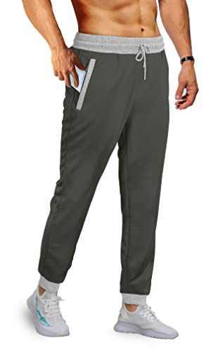 Aloodor Men's Casual Sport Pants with Contrast Color Zipper Pockets Dark Grey M